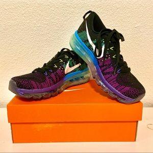 Nike Flyknit Air Max Running Black Purple Blue